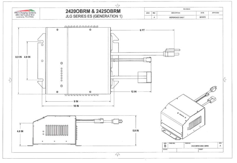 I2420obrm Eagle Performance Scissor Lift Battery Charger  24 Volt 20 Amp